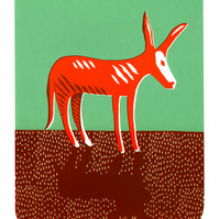 Hello Red Donkey screen-print (50x35cm)