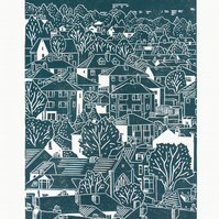 Sheffield City View No.5 linocut print