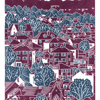 Sheffield City View No.5 A3 poster print (blackcurrant & blue)