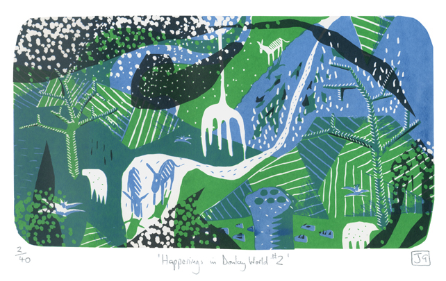 Happenings in Donkey World No.2 3-colour A3 screen print