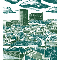 Sheffield City View No.6 A3 poster print (bottle green & teal blue)