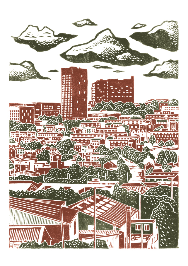 Sheffield City View No.6 A3 poster print (hazelnut brown and warm grey)