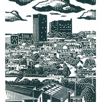 Sheffield City View No.6 A3 screen print (blue-grey)