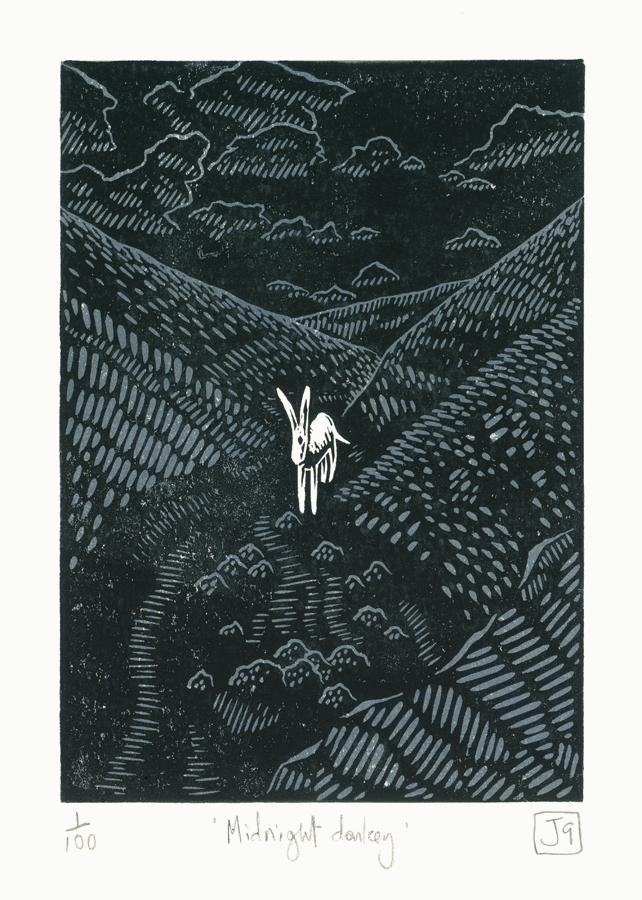 Midnight Donkey two-colour linocut print