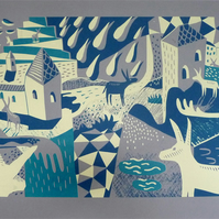 Happenings in Donkey World No.3 2-colour A2 screen print (lemon & dark blue)