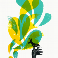 Black Donkey Dream 3-colour A3 screen print (blue, yellow, green)