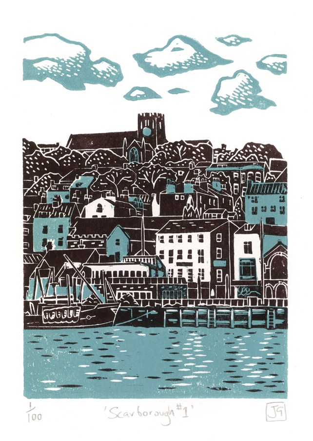 Scarborough No.1 two-colour linocut print