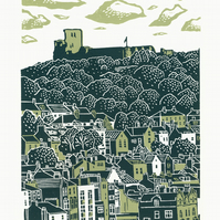 Scarborough No.2 two-colour A3 linocut screen-print