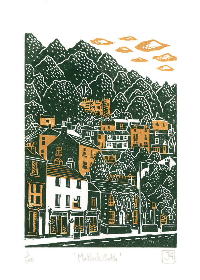 Matlock Bath two-colour linocut print