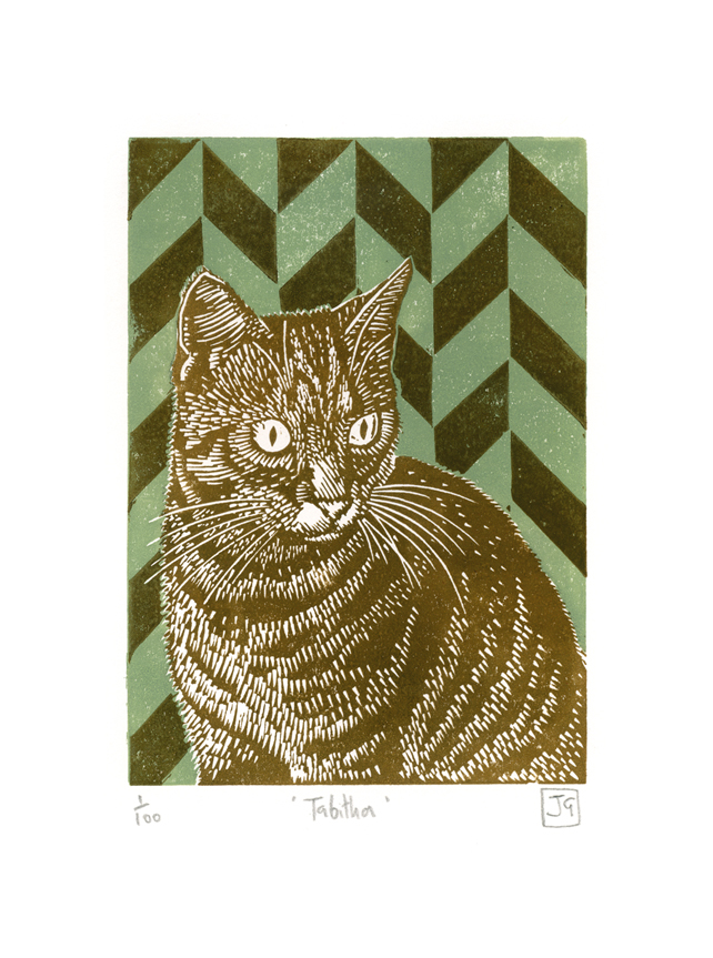 Tabitha two-colour linocut print