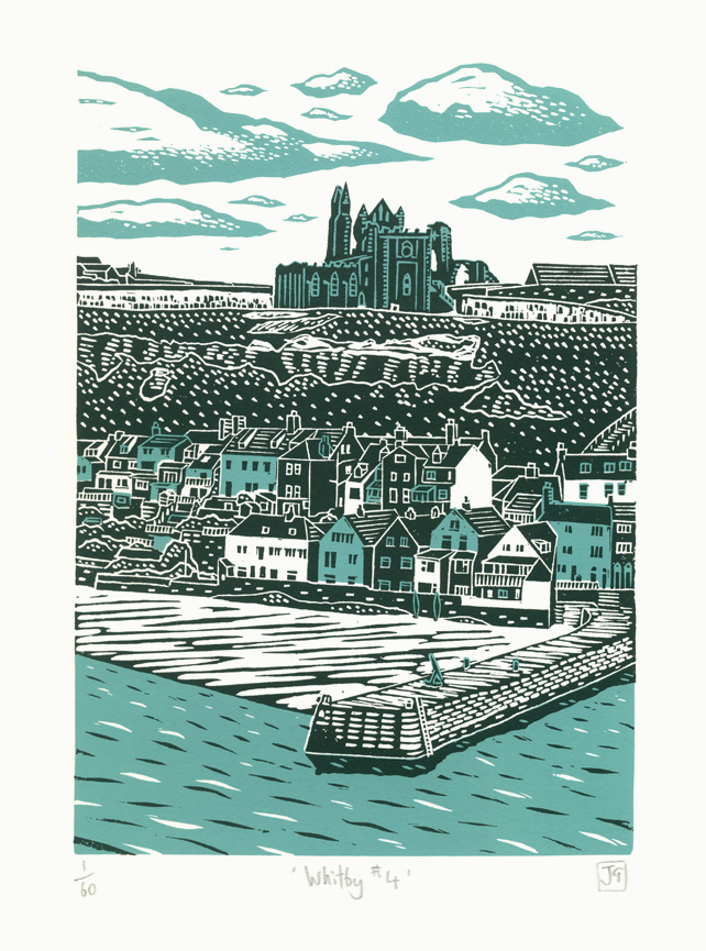 Whitby No.4 two-colour A3 screen-print