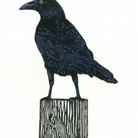 Crow two-colour linocut print