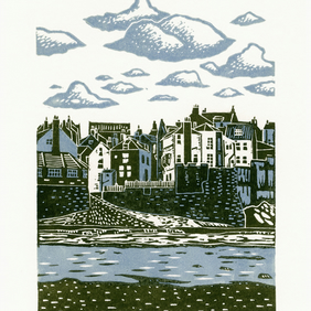 Robin Hood's Bay two-colour linocut print