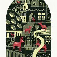 The Donkey Village A3 3-colour linocut & screen-print