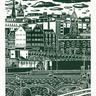 Sheffield City View No.7 A3 screen print (green-grey)