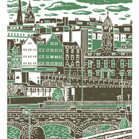 Sheffield City View No.7 A3 poster print (peppermint & warm grey)