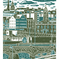 Sheffield City View No.7 A3 poster print (dark green & teal)