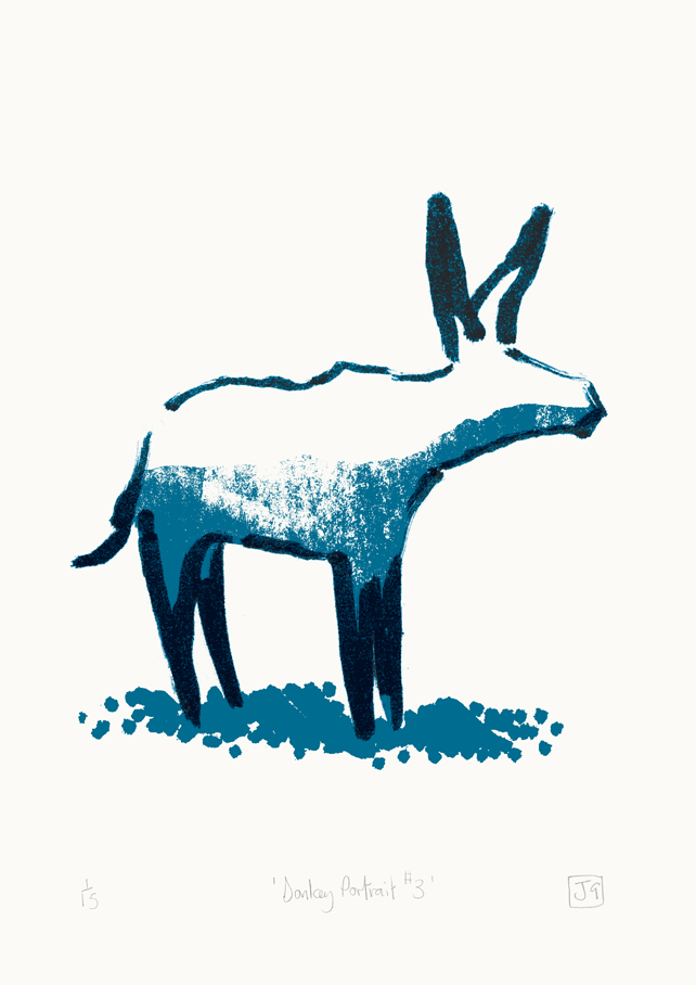 Donkey Portrait No.3 (dark blue & light blue)