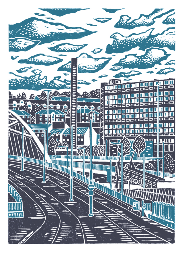 Sheffield City View No.8 A3 poster print (dark blue & light blue)