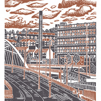 Sheffield City View No.8 A3 poster print (dark orange & grey)