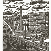 Sheffield City View No.8 A3 screen print (warm grey)