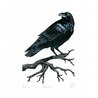Raven two-colour linocut print