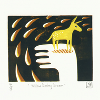 Yellow Donkey Dream three-colour reduction linocut print