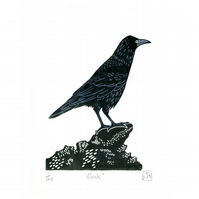 Rook two-colour linocut print