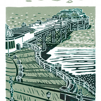 Cromer No.2 A3 poster-print (light grey & dark green)