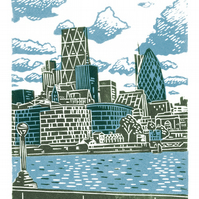 London City View A3 poster-print (light blue & dark green)