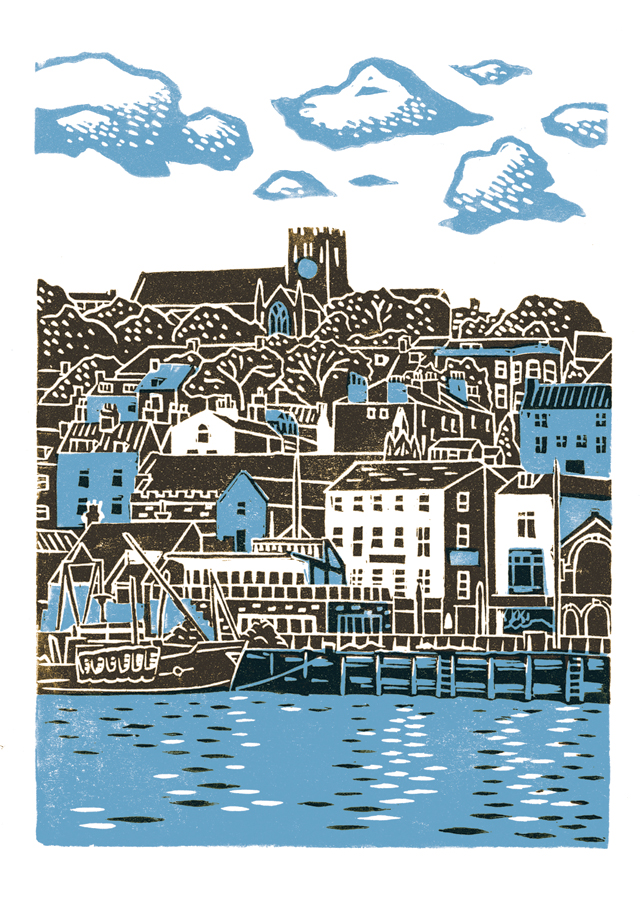 Scarborough No.1 A3 poster-print (blue & dark brown)