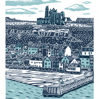 Whitby No.4 A3 poster-print (dark blue and light blue)