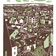 Whitby No.3 A3 poster-print (light teal and brown)