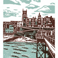 Cromer No.1 A3 poster-print (light teal & dark red)