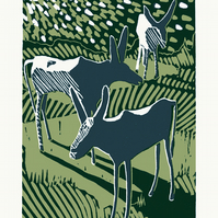 Donkeys Disturbed By A Meteor Shower A3 two-colour linocut screen-print