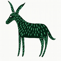 Mystery Donkey No.1 A2 screen print (mint green and dark grey)