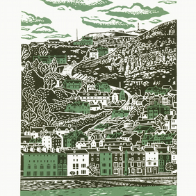 Llandudno two-colour A3 linocut screen-print