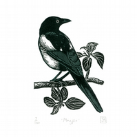Magpie two-colour linocut print