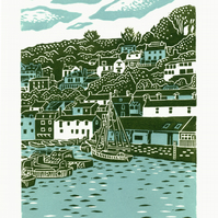 Polperro, Cornwall two-colour linocut print