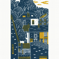 Terraces No.2 2-colour linocut print