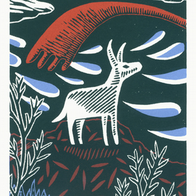 The Donkey Trip No.3 A5 three-colour linocut screen-print