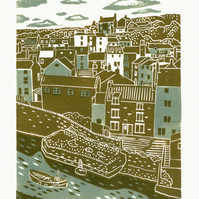 Staithes two-colour linocut print