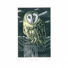 Barn Owl two-colour linocut print