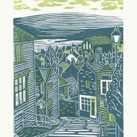 Robin Hood's Bay No.2 two-colour linocut print