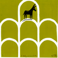 A Donkey And Seven Hills No.1 woodcut & screen-print (30cm square)