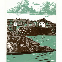 St Ives two-colour A3 linocut screen-print