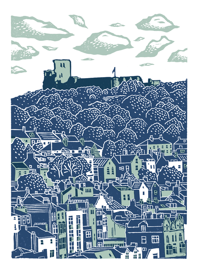 Scarborough No.2 A3 poster-print (light blue and dark blue)