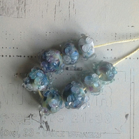 Floral Fun - handmade lampwork glass beads