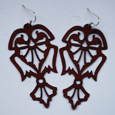 Laser Cut Leather Earrings- Angels design