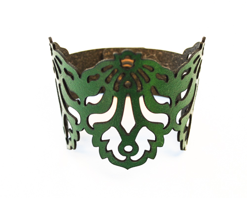 Eco Recycled Leather Bracelet by Lydia Wall Millinery